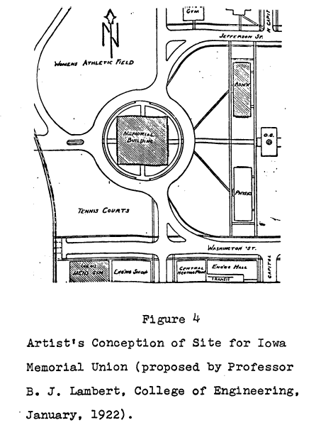 "B. J. Lambert's plan for the IMU. Image from Musselman's ""A history of the Iowa Memorial Union."""