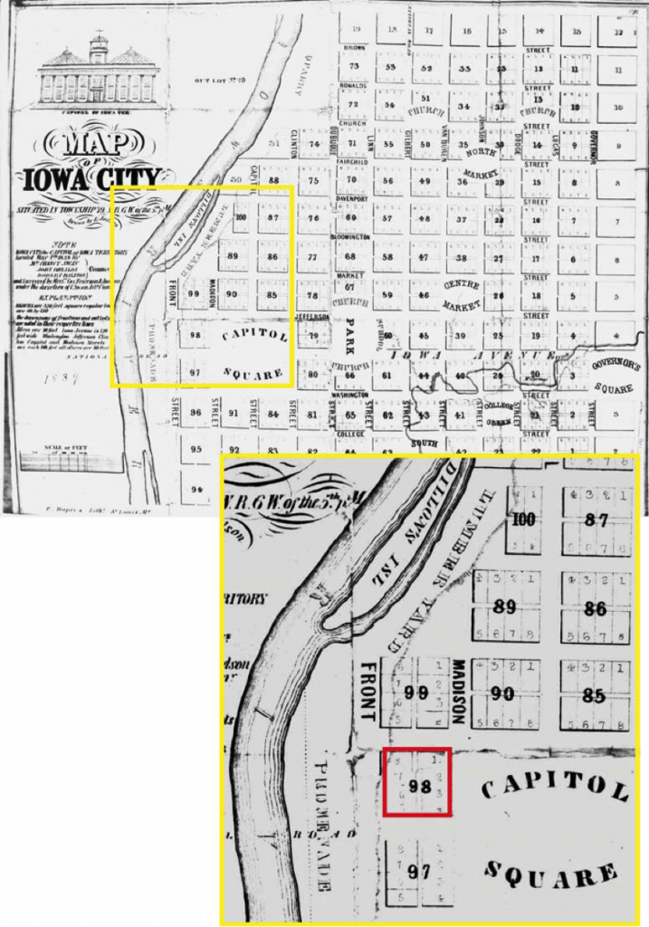 1839 Plat Map illustrating Block 98. Image courtesy the Office of the State Archaeologist.