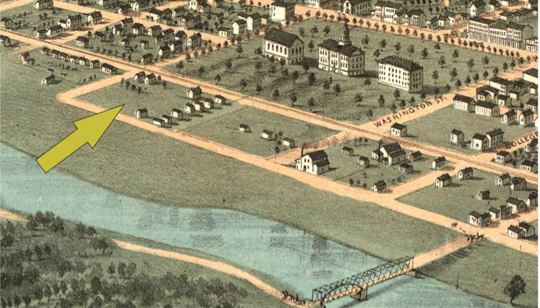 1868 illustration indicating Block 98's proximity to the Iowa River. Image courtesy the Office of the State Archaeologist.