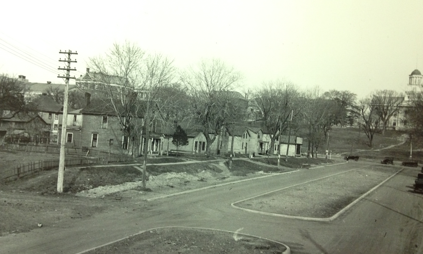 The southern edge of Block 98 during the early 19th century. Photograph taken west of the Old Capitol on Iowa Avenue. Courtesy the State Historical Society of Iowa.