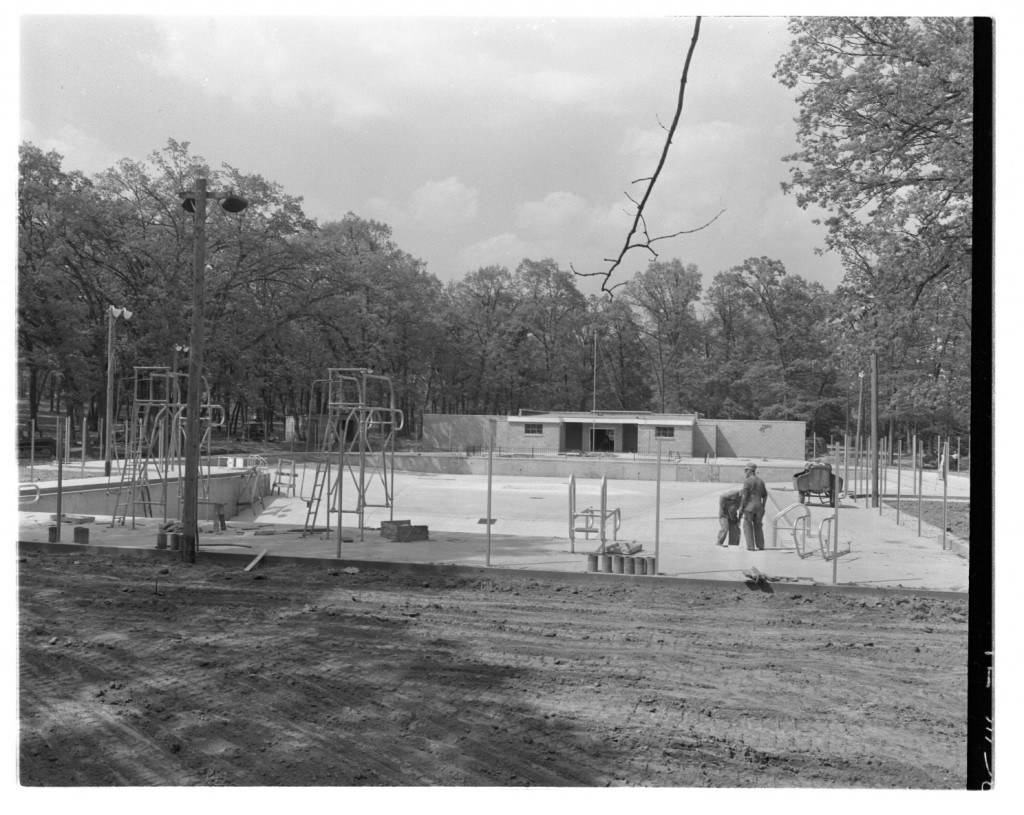City Park Pool under construction, 1950s Roger's Photographs, Iowa City Public Library Digital History Project
