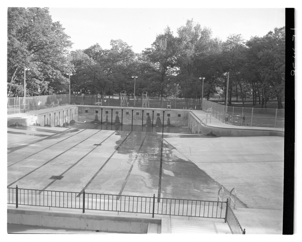 City Park Pool under construction, 1950s Roger's Photographs, Iowa City Public Library Digital Archives