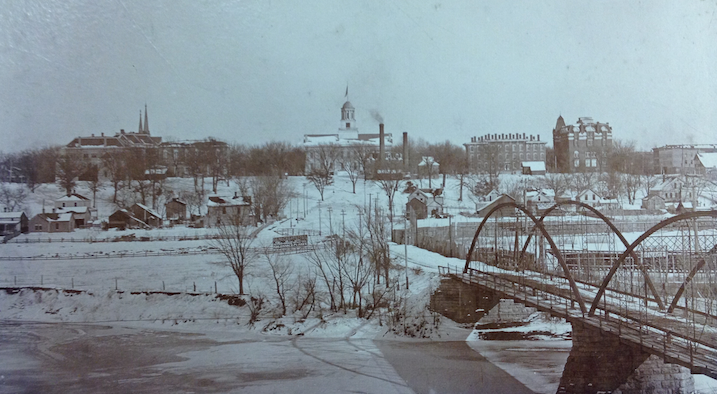 Late nineteenth century photograph facing east toward the Old Capitol. The hog-finishing barn would have been located near present-day Iowa Avenue. Photograph courtesy the State Historical Society of Iowa.