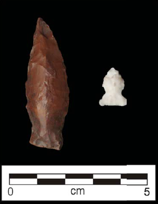 Projectile points recovered from excavations at Hubbard Park.