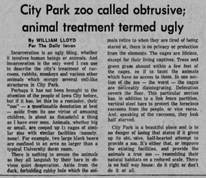 Articles such as this, both for and against the zoo, debated the zoo's merits until its closure in 1976. (Source: The Daily Iowan, October 5, 1967)