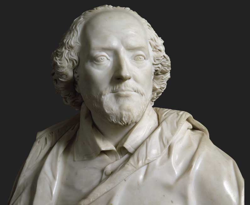 Bust of the Bard in white marble