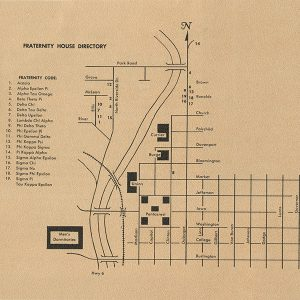 Fraternity house directory, with a map. 1965/1967