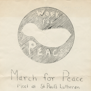 Flier promoting March for Peace, May 1970