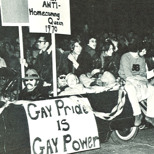 Gay Liberation Front in Homecoming parade, 1970 From Hawkeye yearbook, 1971