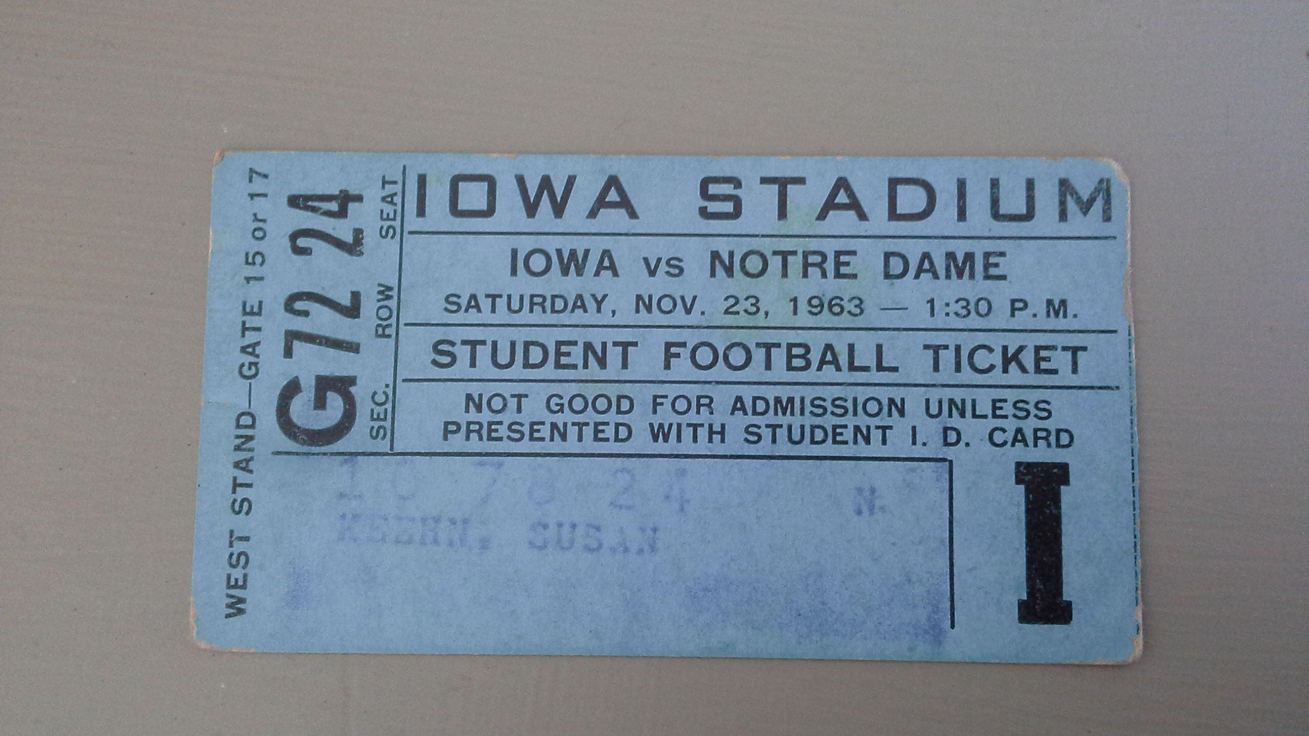 Football Ticket from Iowa vs Notre Dame, Nov. 23, 1963