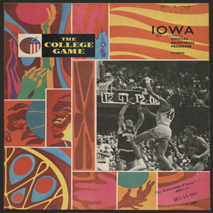 The front page of the University of Iowa Men's basketball program, 1969-1970.  Features a colorful set of tiled graphics, and a black and white photo of a basketball player in mid jump towards the hoop.