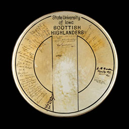University of Iowa's Scottish Highlanders autographed drum head, 1961-1985