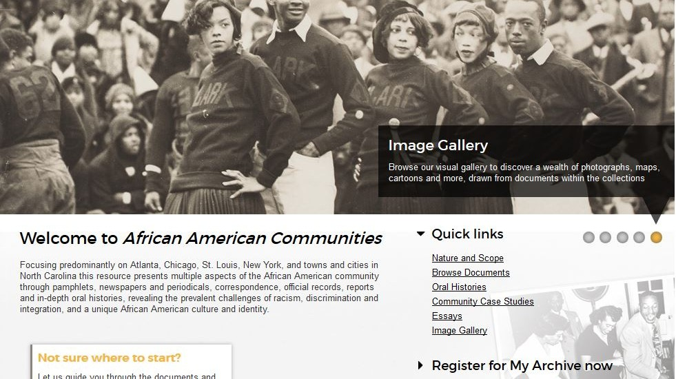 Screen Capture of African American Communities Webpage