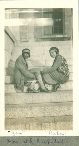 Female students by Old Capitol