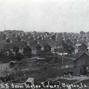Looking southeast from water tower, Buxton, Iowa. c1900.