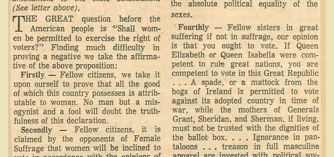 What the 1866 Register said about women voting