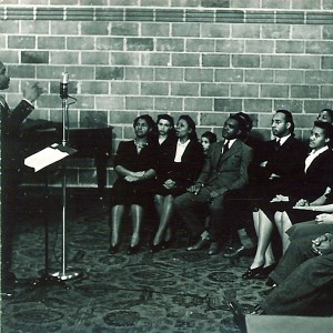 Speaker addressing African American audience at WSUI, The University of Iowa, 1940s, Frederick W Kent, photographer, Iowa city Town and Campus Scenes, http://digital.lib.uiowa.edu/cdm/ref/collection/ictcs/id/5490