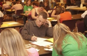 Students apply for campus jobs at the UIowa Job Fair, 2003