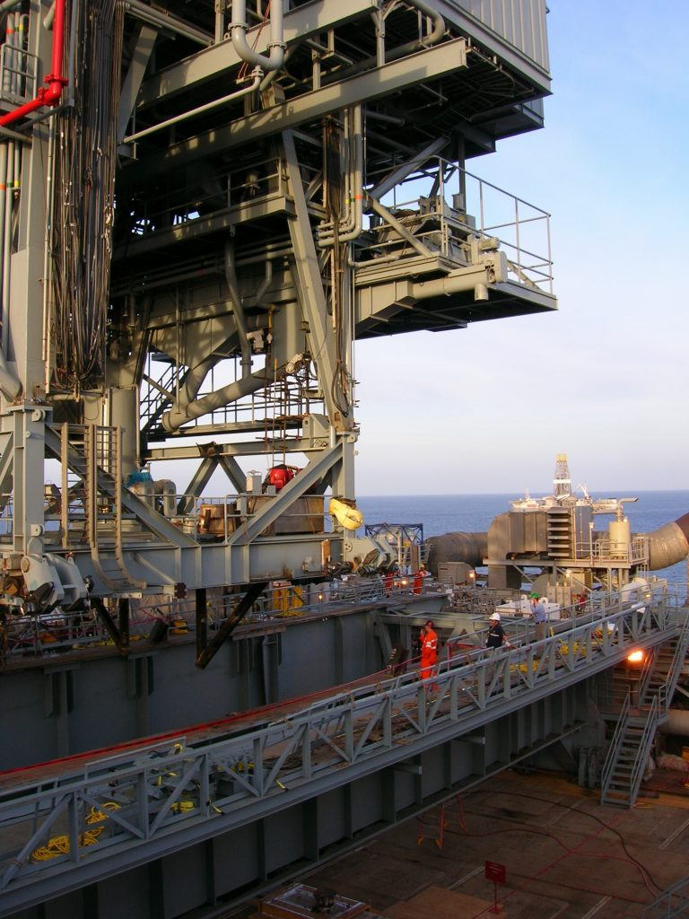 Setting Derrick onto Drilling Deck - Woody Woodward
