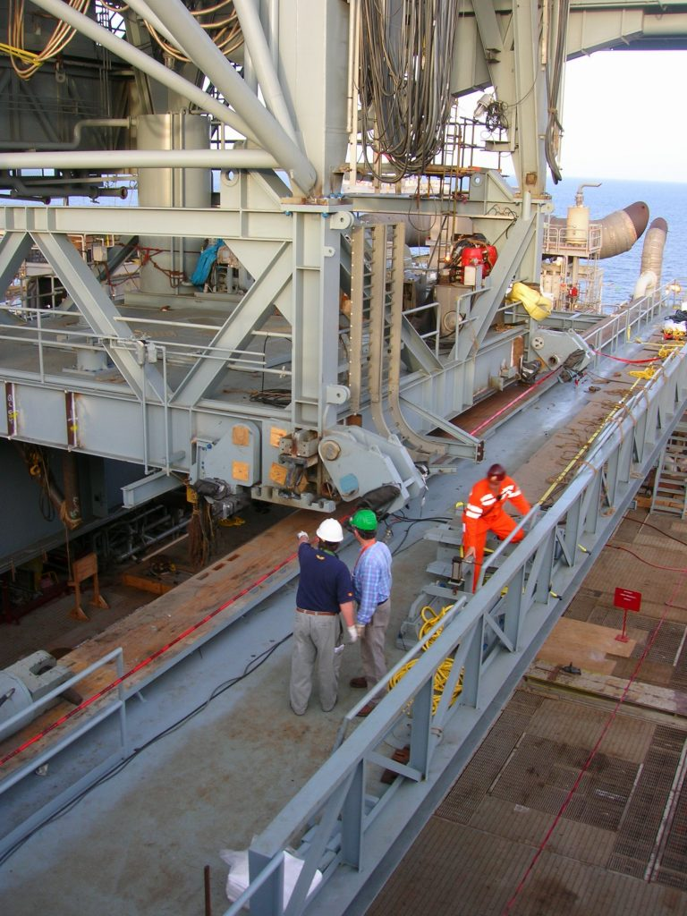 Setting Derrick onto Drilling Deck -Woody Woodward