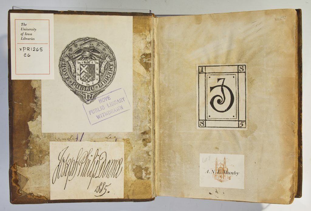 Inside cover with several stamps and tags