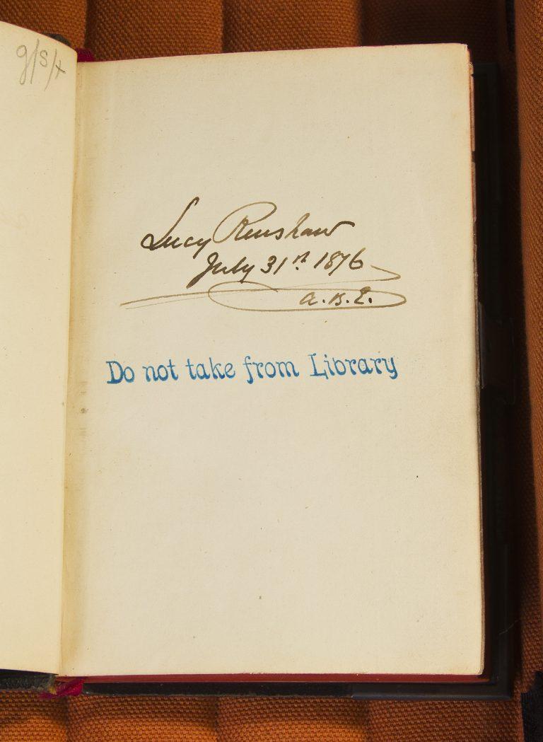 Inscription on inner cover