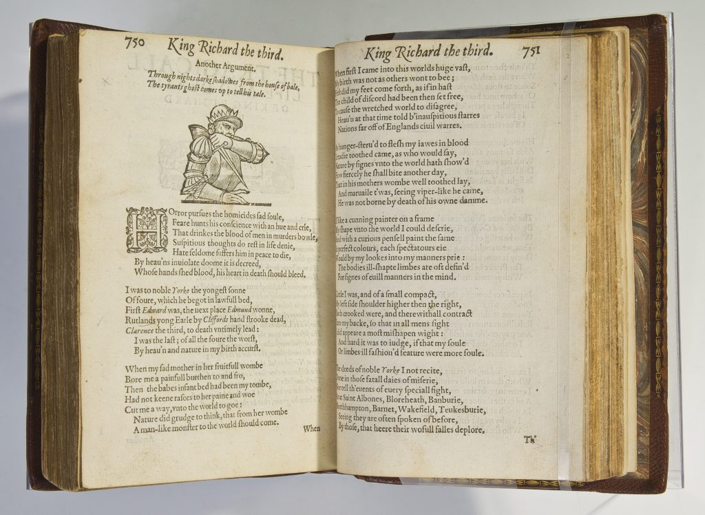 opened book with illustration of Richard III holding a dagger