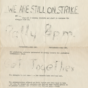We are still on strike' flyer, ca 1970