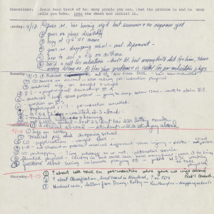 2 log sheets, Center for Draft Information and Counseling, 1971